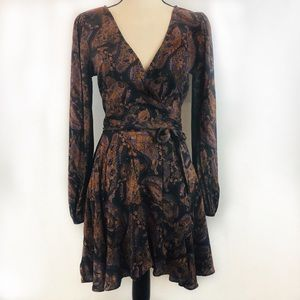 Ecote Urban Outfitters Brown & Black Wrap Dress